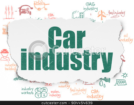 Industry concept: Car Industry on Torn Paper background stock photo, Industry concept: Painted green text Car Industry on Torn Paper background with Scheme Of Hand Drawn Industry Icons, 3d render by mkabakov