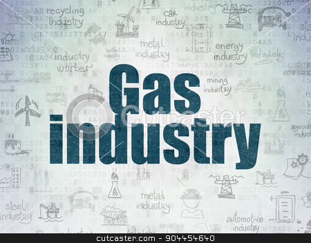 Industry concept: Gas Industry on Digital Paper background stock photo, Industry concept: Painted blue text Gas Industry on Digital Paper background with   Hand Drawn Industry Icons by mkabakov