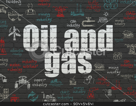 Industry concept: Oil and Gas on wall background stock photo, Industry concept: Painted white text Oil and Gas on Black Brick wall background with  Hand Drawn Industry Icons by mkabakov