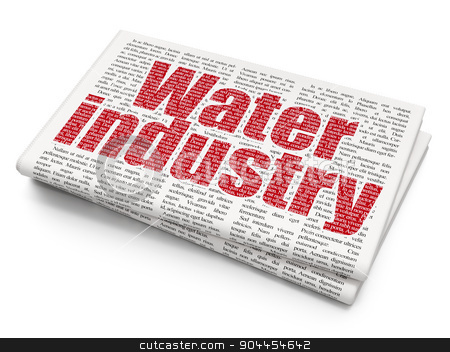 Industry concept: Water Industry on Newspaper background stock photo, Industry concept: Pixelated  Water Industry icon on Newspaper background, 3d render by mkabakov