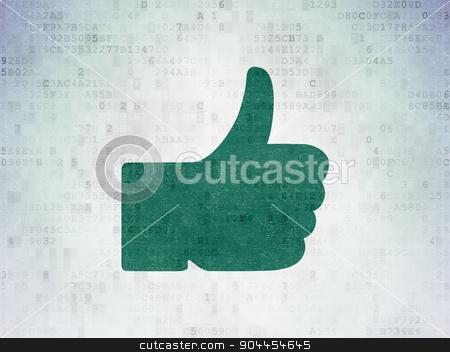 Social network concept: Thumb Up on Digital Paper background stock photo, Social network concept: Painted green Thumb Up icon on Digital Paper background by mkabakov