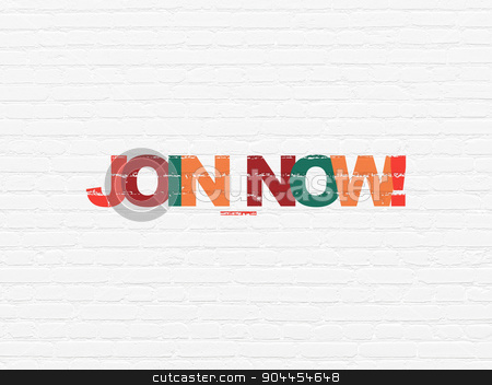 Social media concept: Join now! on wall background stock photo, Social media concept: Painted multicolor text Join now! on White Brick wall background by mkabakov
