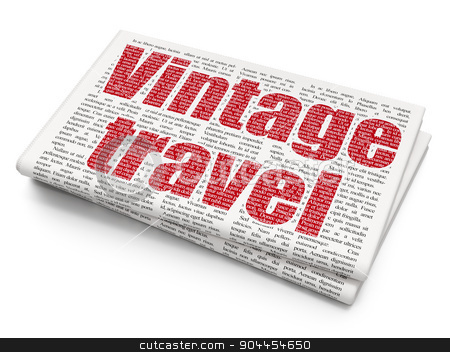 Vacation concept: Vintage Travel on Newspaper background stock photo, Vacation concept: Pixelated  Vintage Travel icon on Newspaper background, 3d render by mkabakov