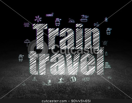 Vacation concept: Train Travel in grunge dark room stock photo, Vacation concept: Glowing text Train Travel,  Hand Drawn Vacation Icons in grunge dark room with Dirty Floor, black background by mkabakov