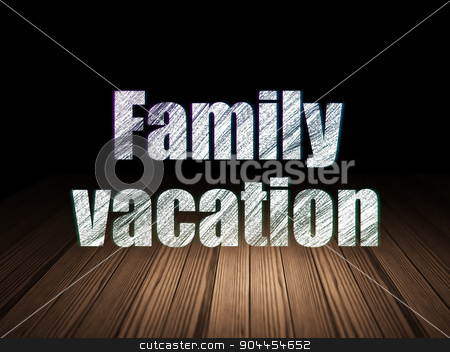 Travel concept: Family Vacation in grunge dark room stock photo, Travel concept: Glowing text Family Vacation in grunge dark room with Wooden Floor, black background by mkabakov