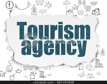 Travel concept: Tourism Agency on Torn Paper background stock photo, Travel concept: Painted blue text Tourism Agency on Torn Paper background with Scheme Of Hand Drawn Vacation Icons, 3d render by mkabakov
