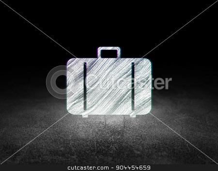 Travel concept: Bag in grunge dark room stock photo, Travel concept: Glowing Bag icon in grunge dark room with Dirty Floor, black background by mkabakov