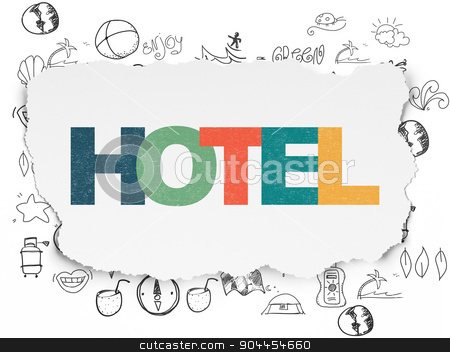 Vacation concept: Hotel on Torn Paper background stock photo, Vacation concept: Painted multicolor text Hotel on Torn Paper background with  Hand Drawn Vacation Icons, 3d render by mkabakov