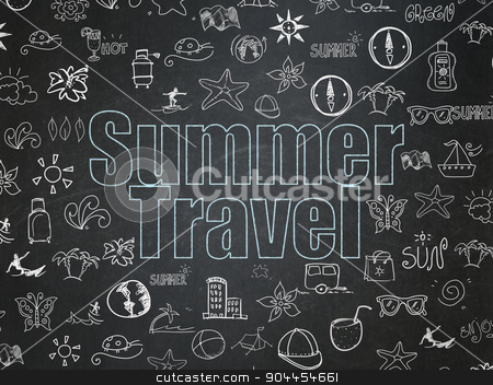 Tourism concept: Summer Travel on School Board background stock photo, Tourism concept: Chalk Blue text Summer Travel on School Board background with  Hand Drawn Vacation Icons, 3d render by mkabakov