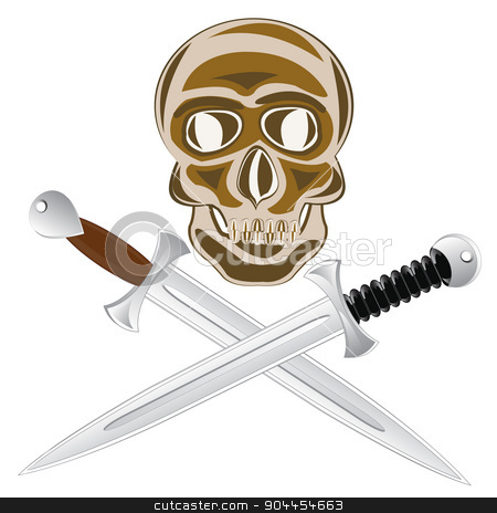 Two sword  and skull stock vector clipart, Two sword and skull of the person on white background is insulated. by cobol1964