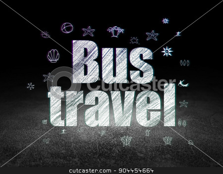 Tourism concept: Bus Travel in grunge dark room stock photo, Tourism concept: Glowing text Bus Travel,  Hand Drawn Vacation Icons in grunge dark room with Dirty Floor, black background by mkabakov