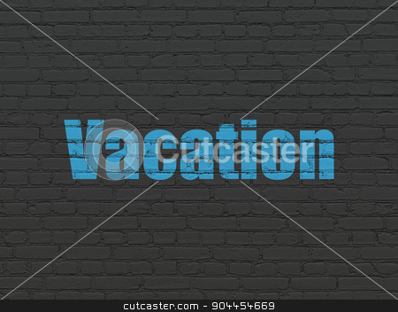 Tourism concept: Vacation on wall background stock photo, Tourism concept: Painted blue text Vacation on Black Brick wall background by mkabakov