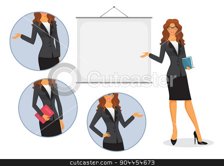 Female teacher with board stock vector clipart, Vector illustration of Female teacher with board by SonneOn
