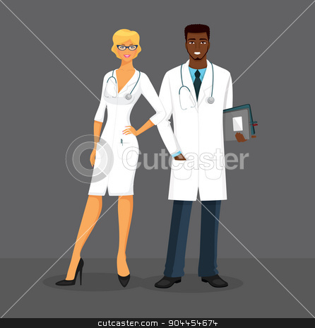 Man and woman doctors stock vector clipart, Vector illustration of Man and woman doctors by SonneOn