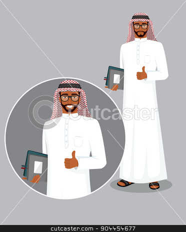 Arabic man character image stock vector clipart, Vector illustration of Arabic man character image by SonneOn