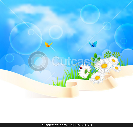 Summer background with grass stock vector clipart, Vector illustration of Summer background with grass by SonneOn