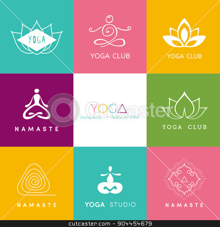 Logo for a yoga studio stock vector clipart, Vector illustration of Logo for a yoga studio by SonneOn