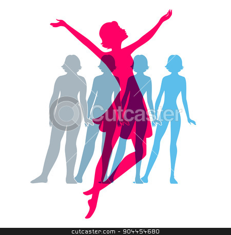 Be fit, woman silhouette images stock vector clipart, Vector illustration of Be fit, woman silhouette images by SonneOn