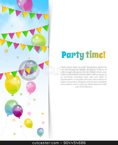 Party banner with flags and ballons stock vector clipart, Vector illustration of Party banner with flags and ballons by SonneOn