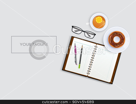 Scene with notebook and tea stock vector clipart, Vector illustration of Scene with notebook and tea by SonneOn