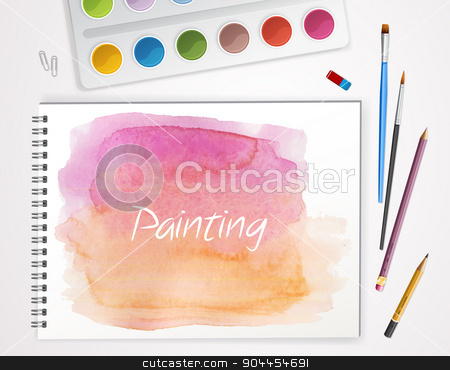Art process with watercolor stock vector clipart, Vector illustration of Art process with watercolor by SonneOn