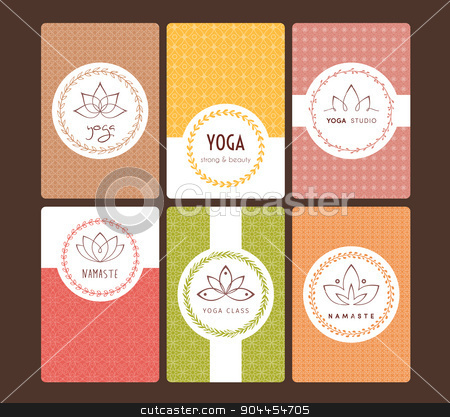 Set of logos and patterns for a yoga studio stock vector clipart, Vector illustration of Set of logos and patterns for a yoga studio by SonneOn