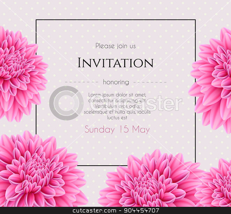 Wedding invitation with beautiful aster flower stock vector clipart, Vector illustration of Wedding invitation with beautiful aster flower by SonneOn