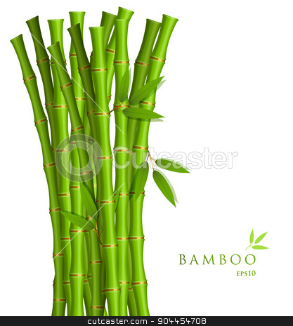 Background with green bamboo stock vector clipart, Vector illustration of Background with green bamboo by SonneOn