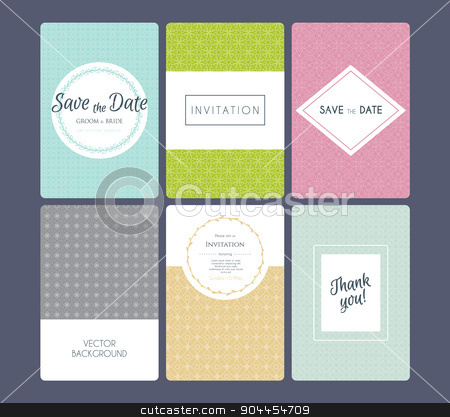 Wedding invitation cards set stock vector clipart, Vector illustration of Wedding invitation cards set by SonneOn
