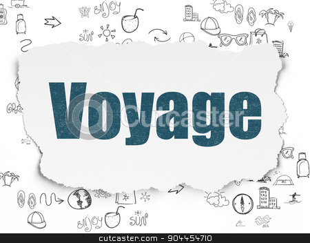 Vacation concept: Voyage on Torn Paper background stock photo, Vacation concept: Painted blue text Voyage on Torn Paper background with Scheme Of Hand Drawn Vacation Icons, 3d render by mkabakov