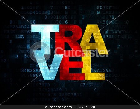 Vacation concept: Travel on Digital background stock photo, Vacation concept: Pixelated multicolor text Travel on Digital background, 3d render by mkabakov