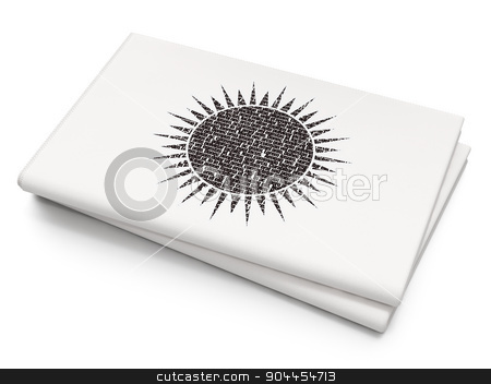 Travel concept: Sun on Blank Newspaper background stock photo, Travel concept: Pixelated  Sun icon on Blank Newspaper background, 3d render by mkabakov