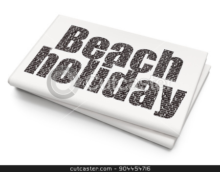 Tourism concept: Beach Holiday on Blank Newspaper background stock photo, Tourism concept: Pixelated  Beach Holiday icon on Blank Newspaper background, 3d render by mkabakov