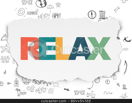 Vacation concept: Relax on Torn Paper background stock photo, Vacation concept: Painted multicolor text Relax on Torn Paper background with Scheme Of Hand Drawn Vacation Icons, 3d render by mkabakov