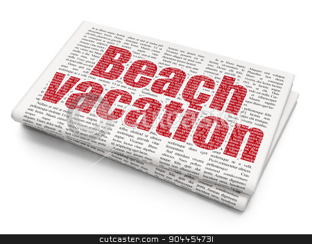 Travel concept: Beach Vacation on Newspaper background stock photo, Travel concept: Pixelated  Beach Vacation icon on Newspaper background, 3d render by mkabakov