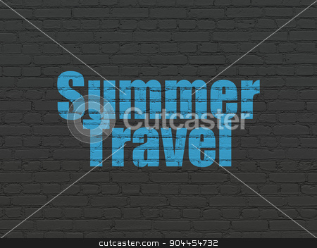 Tourism concept: Summer Travel on wall background stock photo, Tourism concept: Painted blue text Summer Travel on Black Brick wall background by mkabakov