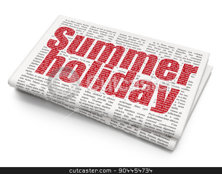 Vacation concept: Summer Holiday on Newspaper background stock photo, Vacation concept: Pixelated  Summer Holiday icon on Newspaper background, 3d render by mkabakov
