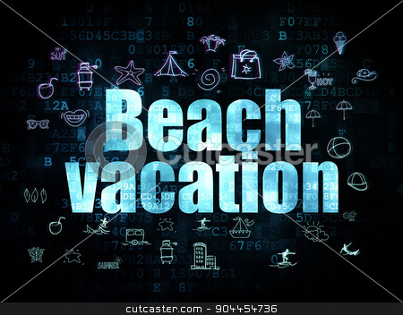 Vacation concept: Beach Vacation on Digital background stock photo, Vacation concept: Pixelated blue text Beach Vacation on Digital background with  Hand Drawn Vacation Icons, 3d render by mkabakov