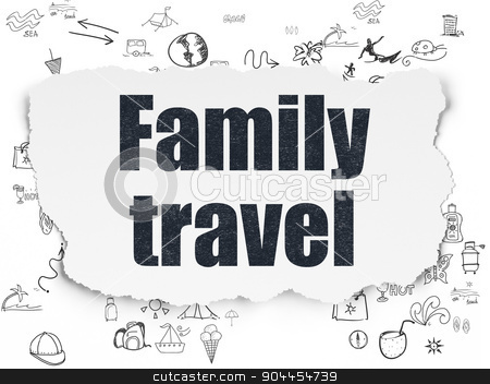 Travel concept: Family Travel on Torn Paper background stock photo, Travel concept: Painted black text Family Travel on Torn Paper background with Scheme Of Hand Drawn Vacation Icons, 3d render by mkabakov