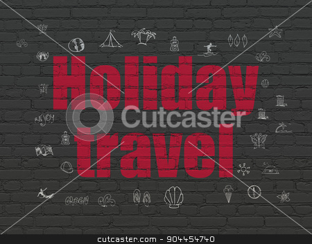 Travel concept: Holiday Travel on wall background stock photo, Travel concept: Painted red text Holiday Travel on Black Brick wall background with  Hand Drawn Vacation Icons by mkabakov