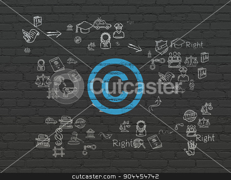 Law concept: Copyright on wall background stock photo, Law concept: Painted blue Copyright icon on Black Brick wall background with Scheme Of Hand Drawn Law Icons by mkabakov