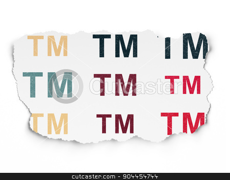 Law concept: Trademark icons on Torn Paper background stock photo, Law concept: Painted multicolor Trademark icons on Torn Paper background, 3d render by mkabakov
