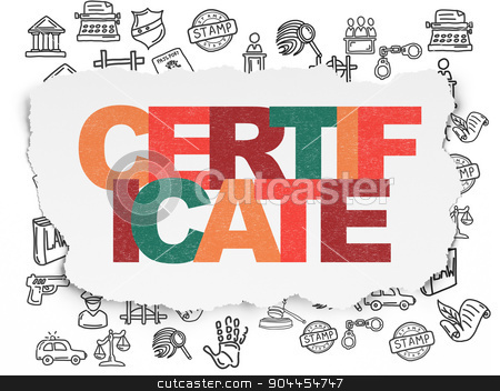 Law concept: Certificate on Torn Paper background stock photo, Law concept: Painted multicolor text Certificate on Torn Paper background with  Hand Drawn Law Icons, 3d render by mkabakov