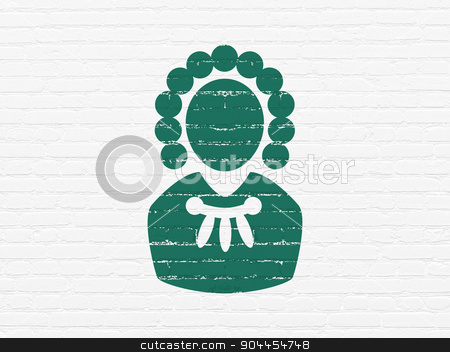 Law concept: Judge on wall background stock photo, Law concept: Painted green Judge icon on White Brick wall background by mkabakov