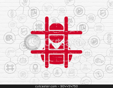 Law concept: Criminal on wall background stock photo, Law concept: Painted red Criminal icon on White Brick wall background with Scheme Of Hand Drawn Law Icons by mkabakov