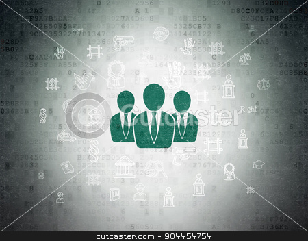 Law concept: Business People on Digital Paper background stock photo, Law concept: Painted green Business People icon on Digital Paper background with  Hand Drawn Law Icons by mkabakov