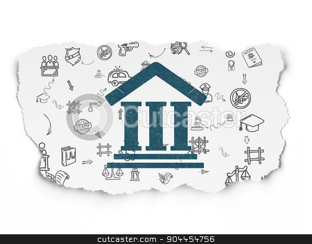 Law concept: Courthouse on Torn Paper background stock photo, Law concept: Painted blue Courthouse icon on Torn Paper background with Scheme Of Hand Drawn Law Icons, 3d render by mkabakov