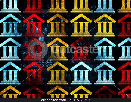 Law concept: Courthouse icons on Digital background stock photo, Law concept: Pixelated multicolor Courthouse icons on Digital background, 3d render by mkabakov