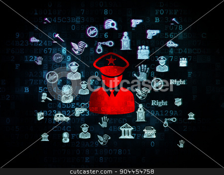 Law concept: Police on Digital background stock photo, Law concept: Pixelated red Police icon on Digital background with  Hand Drawn Law Icons, 3d render by mkabakov