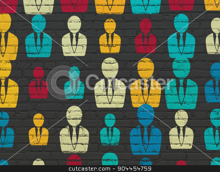 Law concept: Business Man icons on wall background stock photo, Law concept: Painted multicolor Business Man icons on Black Brick wall background by mkabakov